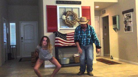 Девочка решила записать на видео свой танец, но тут пришел папа… Посмотрите, что он вытворяет!