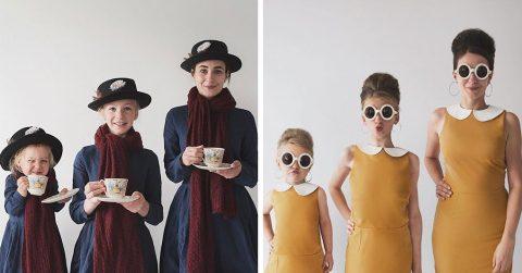 Мама создает трогательные этюды с двумя дочерьми в тематических одеждах