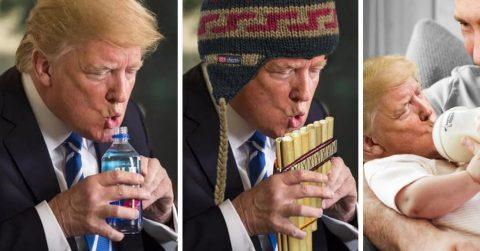 Неуклюжий жест президента Трампа с бутылочкой породил волну карикатур
