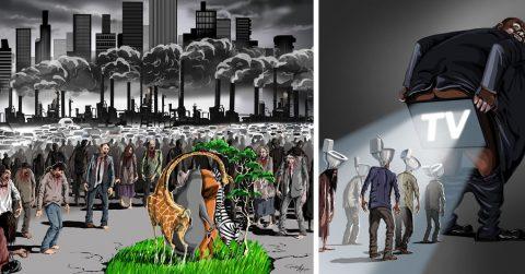 Острые сатирические карикатуры о современной действительности