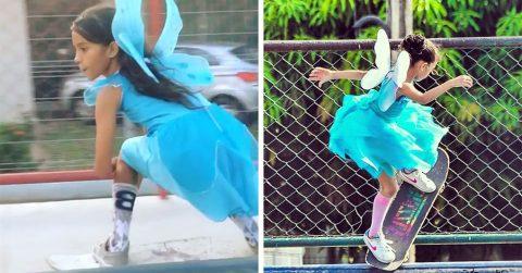 Маленькая бразильянка исполняет супер-трюки на скейте в образе волшебной феи