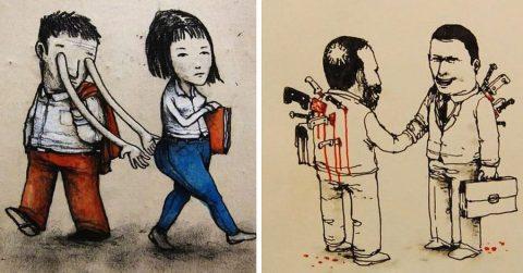 Уличный художник откровенно указывает на недостатки современного общества: 20 иллюстраций