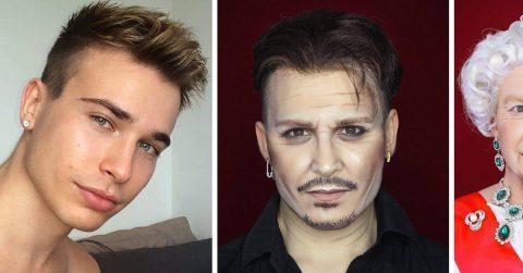 Парень перевоплощается в знаменитостей, используя макияж и свой талант