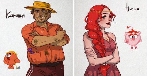 Если бы «Смешарики» были людьми: интересные иллюстрации Hot laim