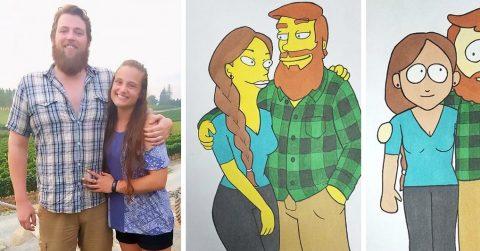 Парень решил удивить девушку, нарисовав ее в стиле 10 знаменитых мультфильмов. Ее сердце определенно растаяло!
