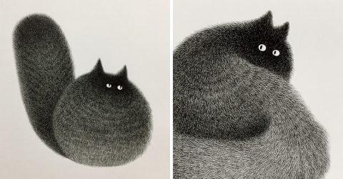 Малайзийский художник рисует невероятно обаятельных и пушистых котиков только при помощи шариковой ручки