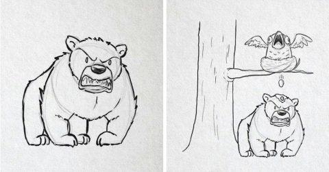 Художник ежедневно добавлял новые детали в картину с мишкой, пока процесс не вышел из-под контроля