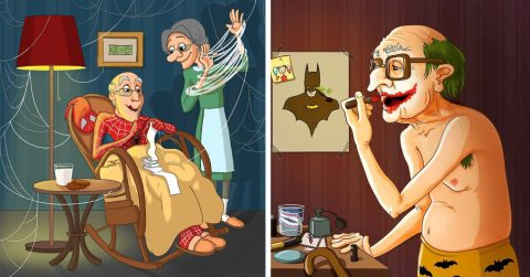 Вот как выглядят супергерои на пенсии. Художница нарисовала их в образе славных бабуль и дедуль